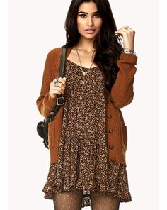 Floral dress. Cardigan with big buttons. Glitter polka dots tights