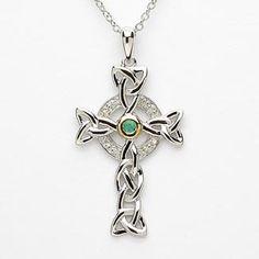 Diamond & Emerald Silver Trinity Knot Cross