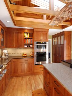 Craftsman Kitchen - These are inset quartersawn white oak cabinets....LOVE the cabinets and skylight