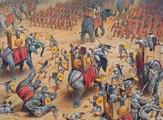 Carthaginian war elephants being attacked by Roman 'Velites' at the Battle of Zama, 202 BC. - art by Peter Dennis