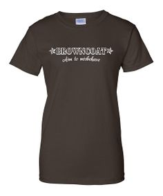 brown coat aim to misbehave tee