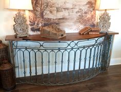 Console made from antique French iron balcony and cypress.
