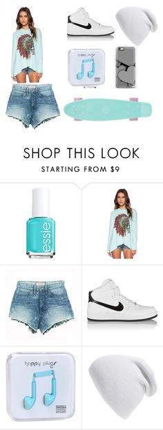 """""""Pennyboard"""" by ferry1011 ❤ liked on Polyvore featuring Essie, LAUREN MOSHI, GUESS, NIKE, Happy Plugs and Phase 3"""