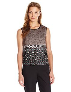 Clover Canyon Sportswear Womens Neoprene Print Embellished Top Tiled Geometry Small ** Want additional info? Click on the image.(This is an Amazon affiliate link and I receive a commission for the sales)