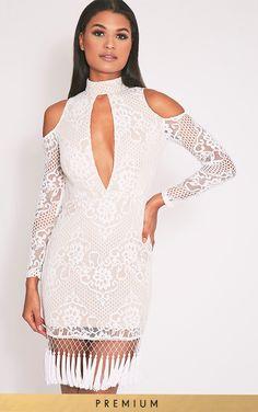 216617c745b0 Krina White Premium Lace Tassel Detail Bodycon Dress Sexy Long Dress