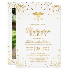 gold dots medical nursing school graduation party invitation