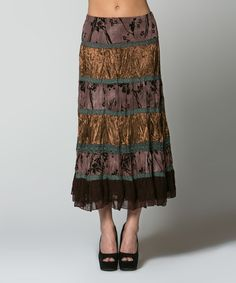 Look at this La Scala Coffee Tiered Midi Skirt - Women on #zulily today!