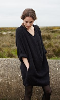 cozy black sweater dress