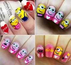 Valentines Day Minion Nail Art