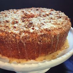 Cinnamon coffeecake with a pecan streusel inside and on top, with a honey frosting drizzled all over! Best coffeecake around!