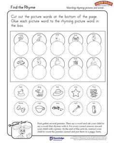 Find the Rhyme – Kindergarten Language Arts Worksheets – JumpStart