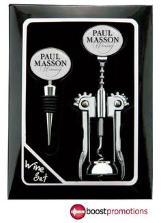 Item # BP-38 Wine Gift Set with chrome stopper and corkscrew. Durable wine accessories with a polyurethane dome to protect your imprint for long lasting visibility!