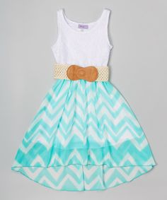Make this!! Love this Mint & White Chevron Belted Hi-Low Dress - Girls on #zulily! #zulilyfinds