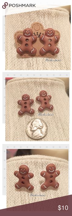 | Gingerbread | Earrings. 🆕 New adorable unique in style Gingerbread man earrings ear studs. Really cute to wear on your ears. Makes a great gift. Fast shipping. Bundle and save more. Thank you. Gingerbread Jewelry Earrings
