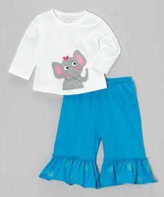 Take a look at this Off-White Elephant Tee & Pants - Infant, Toddler & Girls by Victoria Kids on #zulily today!