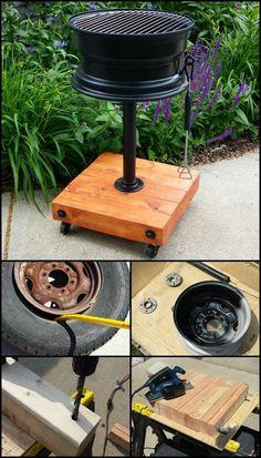 No-Weld-Reifenfelgengrill Es gibt mehrere Beispiele für Reifengrillgrills