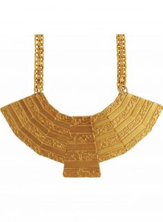 Big Fan Necklace by Ambar - This piece was inspired by ancient Egyptian jewelry combining contemporary urban patterns, inspired by industrial railways engraved on the item.
