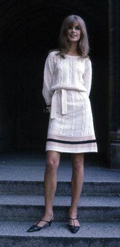 Jean Shrimpton in a cricket inspired knit dress