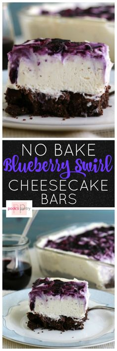 No bake blueberry cheesecake bars have a silky smooth filling swirled with fresh blueberry sauce and a chocolate crust. They are easy and delicious. No Bake Blueberry Cheesecake, Blueberry Desserts, Cheesecake Recipes, Blueberry Sauce, Cheesecake Bites, No Bake Desserts, Easy Desserts, Delicious Desserts, Dessert Recipes