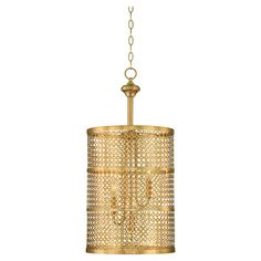 Cast a stylish glow over your dining room or entryway with this au courant pendant, featuring a pierced metal shade and rubbed brass finish. ...