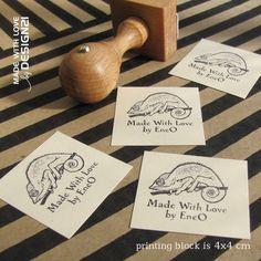 Chameleon: personalised rubber stamp 3x3 cm  https://www.etsy.com/shop/lida21?ref=hdr_shop_menu
