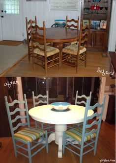 your pick-picklee-white dining table-stipped chairs Not a fan of the material chosen for the chairs, but she really did a great job making them (and the table) look a LOT better! White Dining Table, Table And Chairs, A Table, Round Dining, Recycled Furniture, Painted Furniture, Furniture Makeover, Home Furniture, Do It Yourself Home