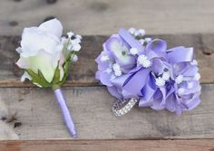 Prom Corsage and Boutonniere set made with Lilac Hydrangea, White Babies Breath and a White Rose Bou White Rose Boutonniere, Prom Corsage And Boutonniere, Rose Corsage, Corsage Wedding, Corsages, Wedding Boutonniere, Boutonnieres, Prom Flowers, Wedding Flowers