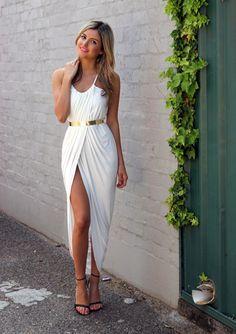 White maxi + black heel sandals + gold accent belt