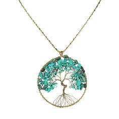 The Tree of Life is one of the most familiar sacred geometric symbols. This symbol represents the unity of all life, both divine and earthly. Local Thai artisan Kannika uses brass wire-works and reconstructed turquoise gemstone to represent the branches. An amazing and trendy piece that will compliment any style. SKU: NS-0577-BTQ
