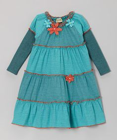 Take a look at this Turquoise Dylan Ruffle Dress - Toddler & Girls by Atelier by Sophie Catalou on #zulily today!