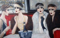 MIAMI COLLECTION, mo welch painting,oil, vintage fashion, art deco, 1920's