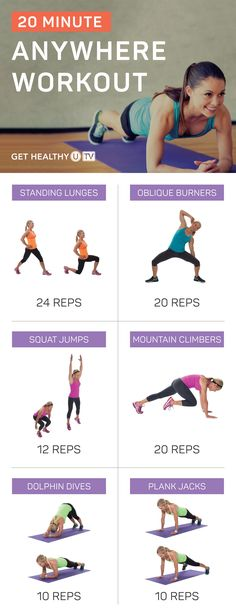 This total-body workout can be done in just 20 minutes and requires NO equipment—just your own bodyweight—making it ideal to do at home, at the park, in a hotel, or wherever you happen to be! Plyometric Workout, Plyometrics, Toning Workouts, Quick Workouts, Pilates Workout, Body Workout At Home, Travel Workout, Total Body, Full Body