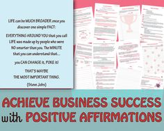 BUSINESS Positive Affirmations Workbook/Key To Success/Law Of Attraction/Work From Home/Mindset/Nothing Is Impossible/Entrepreneurship