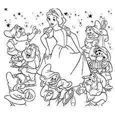 Kleurplaat Sneeuwwitje en de 7 dwergen Disney