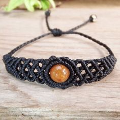 Macrame-Bracelet-Shamballa-Round-Shape-Rutilated-Quartz-Cord-Handmade-Handwoven