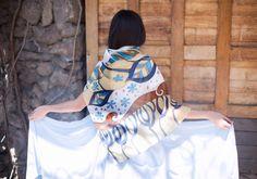 Big silk scarf .Gift for her. Hand painted от ArmeniaOnSilk