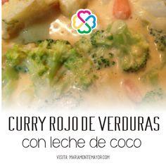 ¡PA CAMBIARLE! Después de vivir tantos años en Asia, ahora extraño los sabores exóticos de la comida. Por eso me animé a hacerme este curry rojo de verduras:Compré la pasta roja de curry (en HEB), verduras frescas tipo brócoli, coliflor y zanahoria y una lata de leche de coco. Quedó delicioso !! Visita: http://www.mariamontemayor.com/#!el-arte-de-nutrir-tu-cuerpo/c19wa