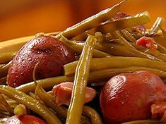 Green Beans with Ham Hock and New Potatoes Recipe : Patrick and Gina Neely : Recipes : Food Network Green Beans Red Potatoes, Ham And Green Beans, Cooking Fresh Green Beans, Ham Hock Recipes, Potato Recipes, Pork Recipes, Recipies, Fall Recipes, Healthy Recipes