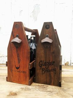 Personalized Growler Wooden Beer Carrier Ready by ReImagineBrewing