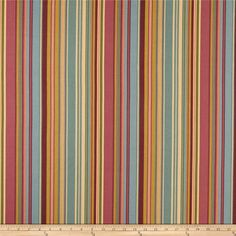 Ansley Home Decor Cotton Duck Stripe Multi from @fabricdotcom  Screen printed on cotton duck, this versatile lightweight fabric is perfect for window treatments (draperies, valances, curtains, and swags), bed skirts, duvet covers, pillow shams, accent pillows, slipcovers and upholstery. Colors include blush, burgundy, blue, green, peach and cream.