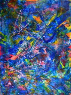 ARTFINDER: Rainbow deconstruction (overturned) by Nestor Toro - Vibrant abstract painting with beautiful details and colors. This piece is full of texture, lots of motion and light. Contains iridescent effects and beautif...