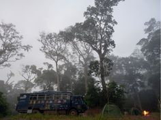 Aminah our overland truck at a bush camp - Kpatawee waterfalls in northern Liberia - November 2015 (Photo from passenger Josh Pattinson) Overland Truck, Liberia, November 2015, West Africa, Waterfalls, Trucks, Camping, Outdoor, Campsite
