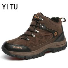 YITU 2017 New Autumn Winter Hiking Shoes Plus Velvet Warm Snow Climbing  Sneakers Outventure Fishing Athletic b1155a23f75