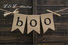 Toile de jute BOO Bruant, toile de jute Bruant, Bunting Bannière, Halloween…
