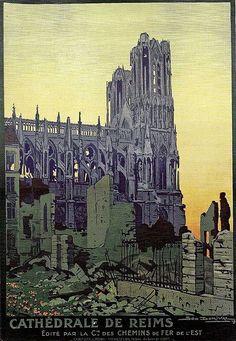 File:chemins de fer de l'est - La cathédrale de Reims - illustration de Géo Dorival - France -