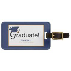 Congratulations Graduate Hat Tassel Blue Gold Bag Tag - accessories accessory gift idea stylish unique custom