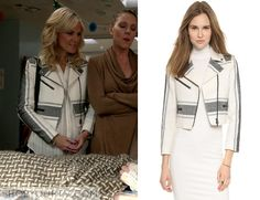 Daniella (Tricia O'Kelley) wears this white and grey striped jacket in this week's episode of Red Band Society. It is the Club Monaco Nolicia Moto Jacket. Buy it HERE for $139
