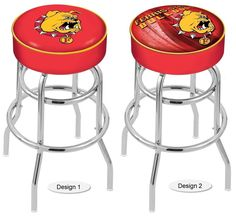 The NCAA officially licensed Ferris State Bulldogs Bar Stool has a 4-inch cushion with a tough double-ring base and a chrome finish. Free shipping. Visit sportsfansplus.com for details.