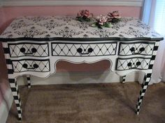 Black & White French Provincial Desk / Vanity