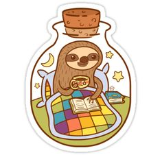 This little Sloth doesn't seem to be bothered by being trapped inside a bottle. He's got his favorite books and his blanket, he's good. • Also buy this artwork on stickers, apparel, phone cases, and more.